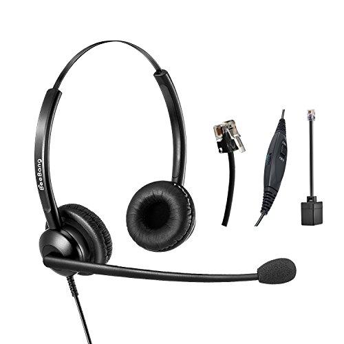 Beebang Office Telephone Headset RJ9 Jack with Pro Noise Canceling Microphone and Mute Switch Controls for Plantronics Jabra Polycom Mitel Nortel Shoretel Aastra Avaya Alcatel Landline Phones