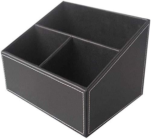 YLLAND Leder Stifthalter Finishing Box Desktop Schreibwaren Aufbewahrungsbox Büro Briefpapierbedarf Veredelung, Geeignet für Studentenspeicherbeiträge oder Lagerung Makeup Pinsel 18.3x14x13.5cm LNNDE
