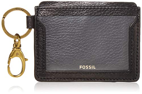 Fossil womens Lee Leather Wallet Card Case, Black, 3.88 L x 0.19 W 3 H US