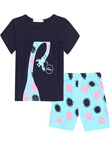 Bricnat Mädchen Schlafanzug Nachtwäsche Baumwolle Kinder Frühling Sommer Bekleidung Pyjama Set Kurze Ärmel Pyjama Zweiteiliger Schlafanzug Shorty,Blau,7-8 Jahre (130)