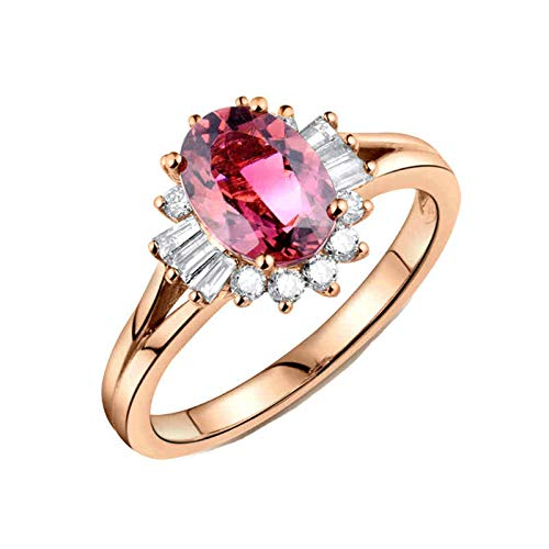 Beydodo Anillo de Boda Mujer,Anillos Oro Rosa 18 Kilates Mujer Oro Rosa Oval Turmalina Rosa 1.2ct Diamante 0.48ct Talla 12(Circuferencia 52MM)