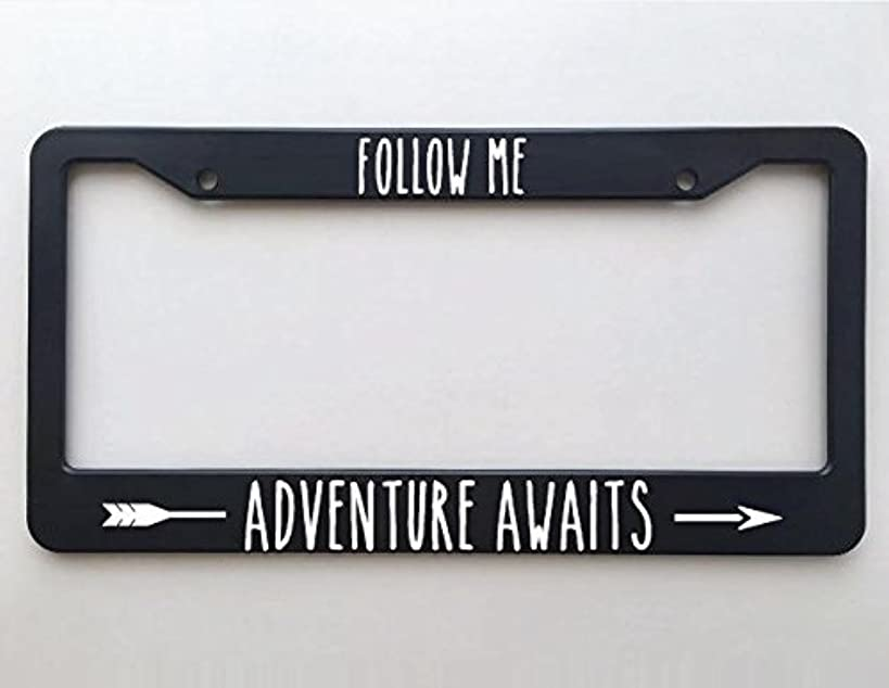 ClustersNN Follow Me, Adventure Awaits License Plate Frame, Car Tag Frame, License Plate Holder, Car Plate Frame, Auto License Plate Frame.