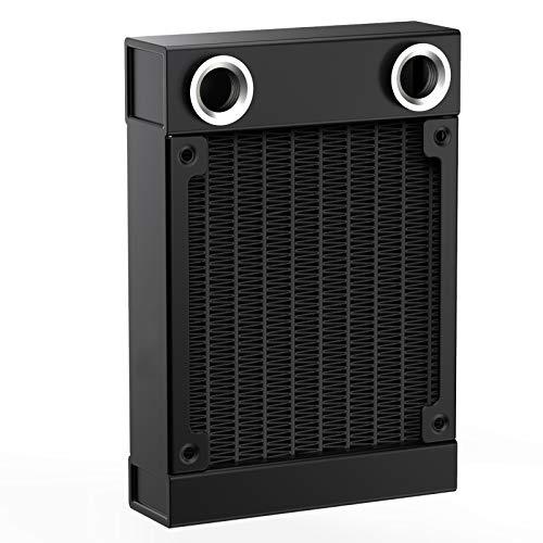CLDIY Enfriador de agua G1/4 roscas, enfriador de 8 tubos, de aluminio, intercambiador de calor para ordenador de CPU, sistema de refrigeración por agua, CC 12 V, 80 mm