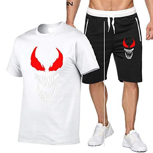 DREAMING-T-shirt slim girocollo T-shirt sportiva da uomo estiva T-shirt casual a maniche corte traspirante top + pantaloncini Tuta 2 pezzi XL