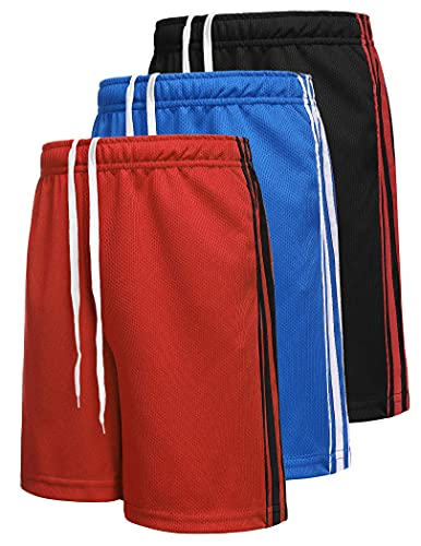 Boyoo Big Boys Youth 3 Pack Dri Fit Athletic Performance Shorts Mesh Active Basketball Shorts with Pockets