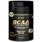 Nutrafirst BCAA Protein with Whey Protein Isolate in Chocolate Flavor for Pre/Post/Intra Advance Workout Supplement 100% Pure Vegan, Muscle Recovery & Endurance BCAA – 500gm ( 70 Serving ), Pack of 1
