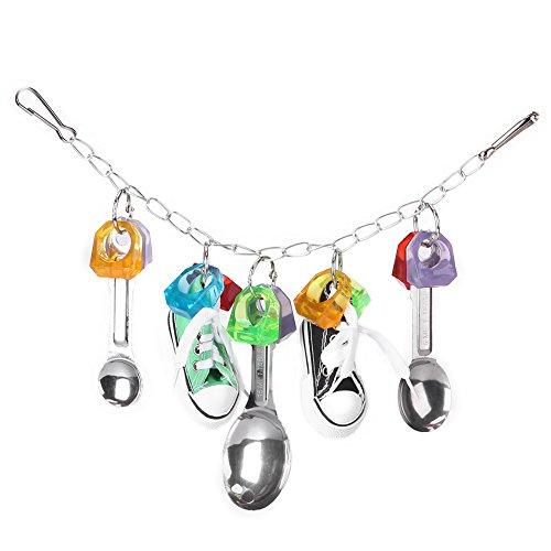 HEEPDD Vogel Kauwspeelgoed, Kleurrijke Kunststof Metalen Lepel Hangende Swing Speelgoed Mini Sneaker Papegaaien Cage Bite Speelgoed voor Macaw Afrikaans Grijs Amazon Cockatoo Budgies Parakeet Lovebird