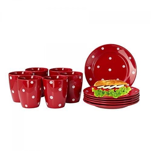 Van Well Emily 12-TLG. Frühstücksservice für 6 Personen, rot + weiße Punkte, Frühstücksteller + Kaffeebecher, Steingut Geschirrset