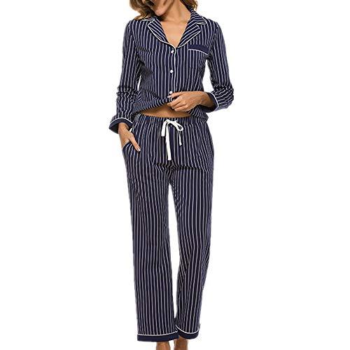 Damen Pyjama-Set, Baumwolle, gestreift, Nachtwäsche, langärmeliges Shirt und Hose...