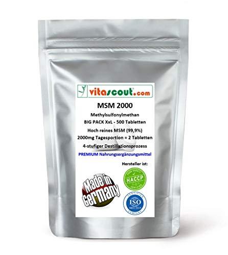 MSM - Methylsulfonylmethan - 500 Tabletten - 2000mg Tagesportion (=2 Tabletten) - 99,9{01decfc86a3af15627ed99b8ab40f8a73ade07345ab8b489226dfed24999ca6b} Reinheit - LABORGEPRÜFT - MADE IN GERMANY - hochdosiert