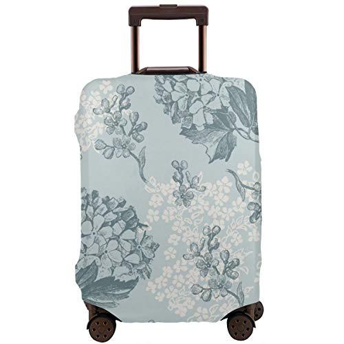 Reiskoffer Beschermer, Retro Bloemen Patroon met Viburnum Bloemen en Vergeet-me-nots - Tegels Naadloos, Koffer Cover Wasbare Bagage Cover
