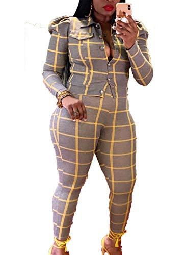 FOBEXISS Chándal para mujer de manga larga a cuadros con solapa y pantalones de salón acogedores, juego de 2 piezas para mujer