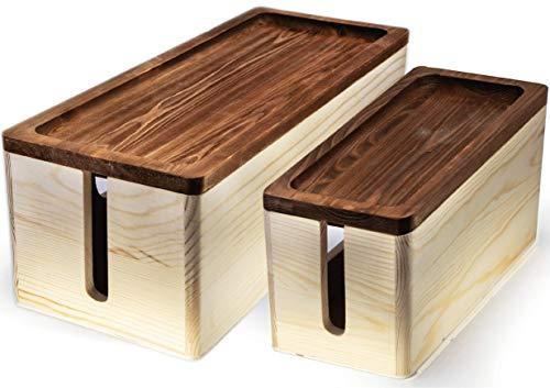 Nature Supplies 2 Cajas para Organizar Cables Hecha en Madera de Pino - 1 Caja Organizadora Mediana para Escritorio, 1 Organizador Grande para Piso