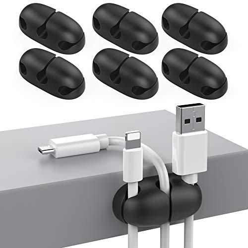 Delidigi 6 Pack Kabel Organizer Kabelclips halter Schreibtisch für USB-Kabel Draht Home Office und Auto(Schwarz)