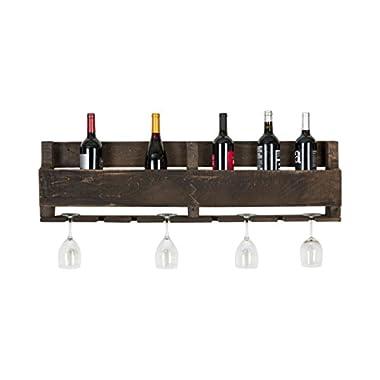 del Hutson Designs The Olivia Wine Rack, USA Handmade Reclaimed Wood, Wall Mounted, 8 Bottle 8 Long Stem Glass Holder