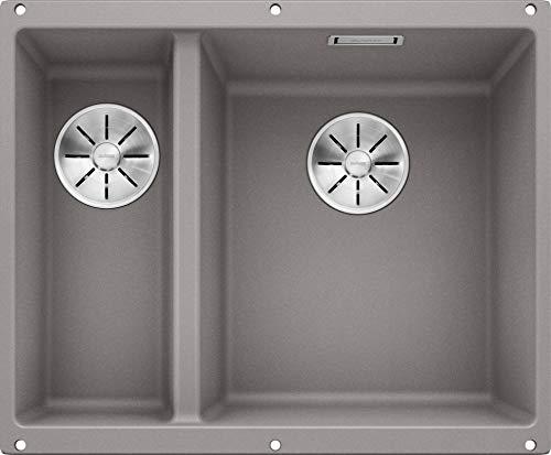 Preisvergleich Produktbild BLANCO SUBLINE 340 / 160-U Unterbau Doppelspüle für die Küche für 60 cm breite Unterschränke aus SILGRANIT grau 523560