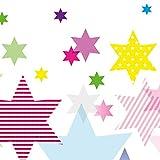 Anna Wand Bordüre selbstklebend Stars 4 Girls - Wandbordüre Kinderzimmer/Babyzimmer mit bunten Stern-Motiven - Wandtattoo Schlafzimmer Mädchen & Junge, Wanddeko Baby/Kinder
