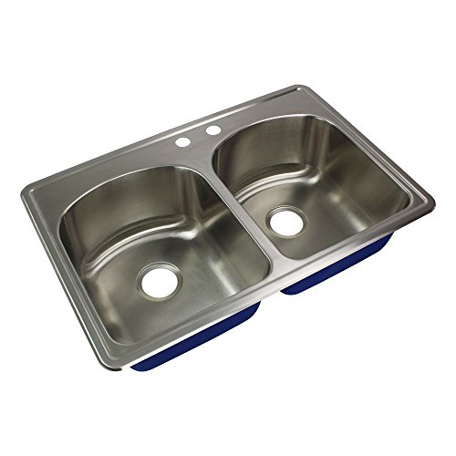 """Transolid MTDD33229-M Meridian 2-Hole Drop-In Equal Double Bowl Kitchen Sink, 22 1/64""""L x 33""""W x 9""""H, Brushed Stainless Steel"""