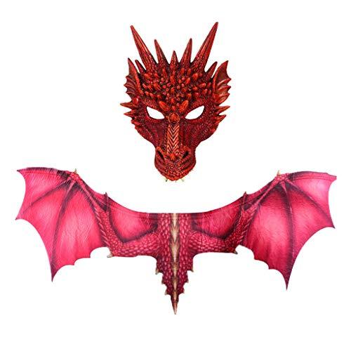 Lomelomme Halloween Cosplay Drache und Dinosaurio Gruseliges Maskenkostüm für Erwachsene Party Deko Requisiten Gruselig Halloween Maske Halloween Cosplay Dinosaurier Flügel
