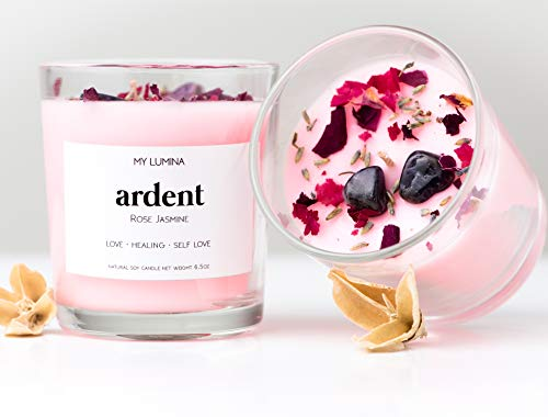 My Lumina Ardent Love Pink Candle - Romantic Sweet Love Candle Natural Soy Wax - Rose and Jasmine Natural Scented Purifying Candle for Aromatherapy