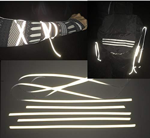 400cm Reflektor Schnur/Band (dehnbar) 5mm – Hochreflektierend Reflektierender Stoff – Reflexstoff zum Anbinden an Reißverschluss Taschen Hosen Rad Kleidung – Plus an Sicherheit in der Nacht