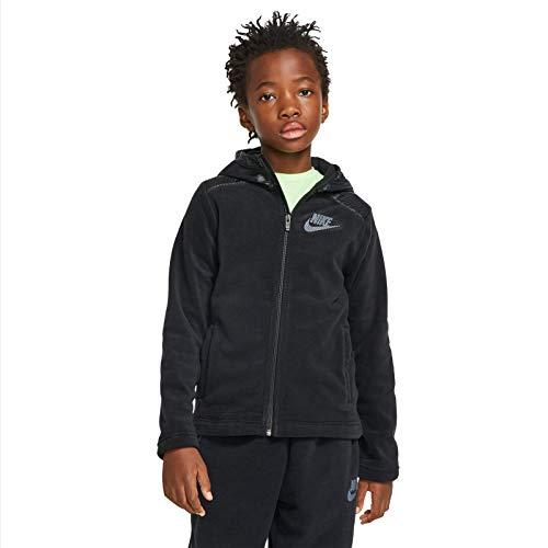 Nike Jungen NSW Hoodie Full Zip Winterized T-Shirt, Schwarz (Black/Black), (Herstellergröße: Medium)