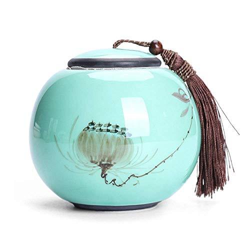 Céramique Thé Jar Style Style Bonnets de thé Tea Tins Canet Celadon Peint à la main Caddon à la main, réservoir de rangement portable en céramique, réservoir de stockage de thé, accessoires de thé Kun