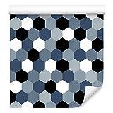 Muralo Papel pintado autoadhesivo con forma de hexágono y figuras hexagonales minimalistas de mosaico, líneas geométricas, 1000 x 50 cm, papel pintado de pared para salón o dormitorio