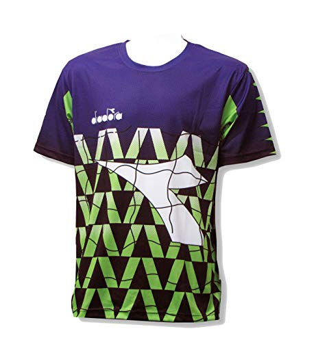Diadora Fresco short-sleeve goalkeeper jersey with your number - Purple/Lime - size Adult X-Large