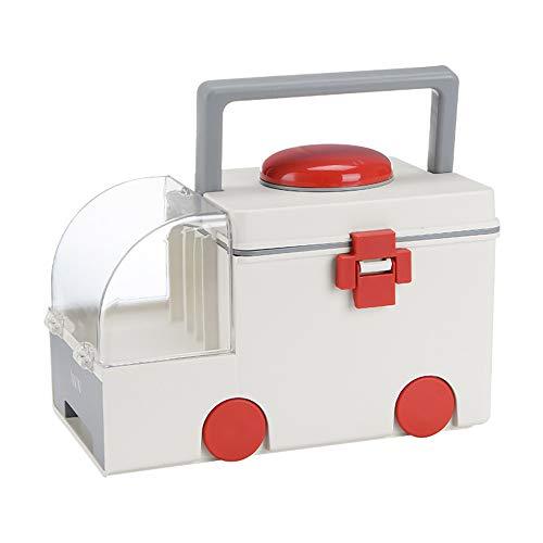 Ryoizen Tragbare Notfall-Box, Erste-Hilfe-Kunststoff-Aufbewahrungsbox, Reise-Medizin-Box, Erste Hilfe Koffer Schachtel Medizin Boxen Behälter Plastik 32x21x21cm(grau)