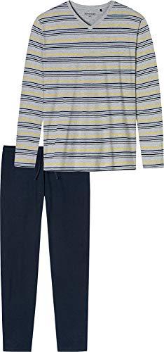 Schiesser Herren Schlafanzug Lang Pyjamaset, grau-Mel, 058