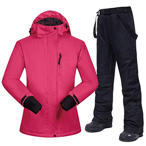 Ski für Anzüge New Snowboarding Anzüge Frauen-Winter-windundurchlässige wasserdicht weibliche Ski-Jacke und Schneehosen Sets Super-Marken Damen Zu warm Skibekleidung (Color : A, Size : M)