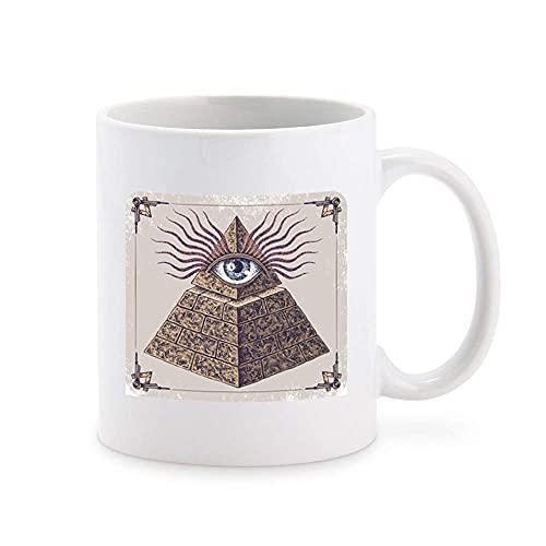 N\A Dibujado A Mano Ojo Que Todo LO VE Illuminati PIRÁMIDE MARRÓN Negro Gris Blanco Taza de café Taza de té Tazas de Regalo novedosas 11 oz