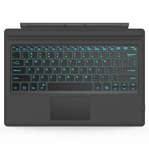 MoKo Drahtlose Wireless Bluetooth 3.0 Tastatur QWERTY-Layout Keyboard Eingebaute Lithium Batterie LED Color Backlit Kompatibel mit Microsoft Surface Pro 7 Plus/Pro 7/Pro 6/Pro 4/Pro 3/Pro 2017, Grau