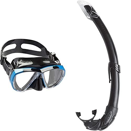 Cressi Big Eyes Gafas de Buceo, Unisex, Negro/Azul + Mexico Tubo De Snorkel, Unisex-Adult, Negro, Un Tamaño