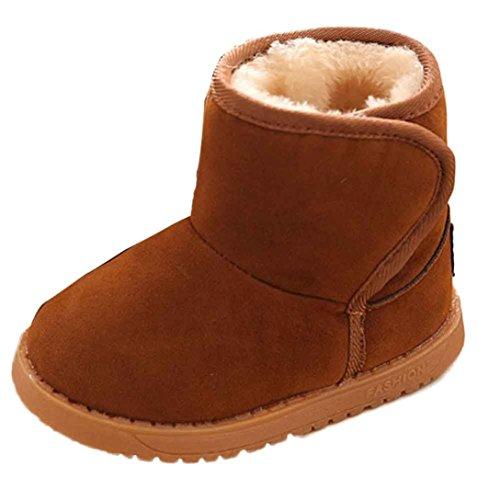 Oyedens Fashion bebé invierno gruesa caliente botas de nieve para niño niñas zapatos de piel blanco marrón Talla:UK 7-7.5