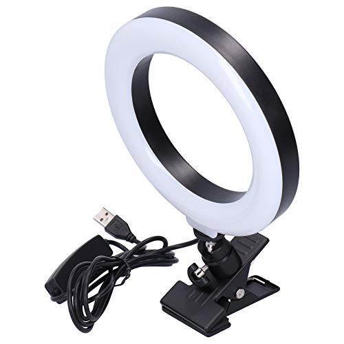 Luz circular portátil de 16 cm LED Luz circular USB Luz de relleno RGB Luz de relleno de rotación horizontal de 360 ° profesional con soporte de abrazadera para Selfie Live Maquillaje Luz de relleno