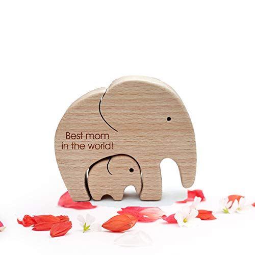 hgfds Wooden Sculpture Wood Ornament, Best Mom in The World Wooden Ornament-Elephant Mother and Child Desktop Decor, Art Decor Crafts Figurines Ornaments, Mother's Day Gift (Mother and Baby)