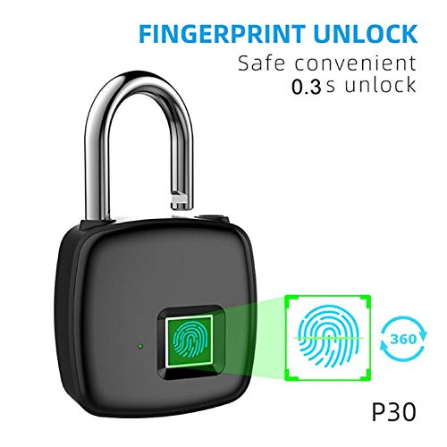 USB Rechargeable Lock Security Keyless Lock Smart Lock Fingerprint Padlock Strength and Durability Anti-Theft for Bicycles for Doors for Cabinets
