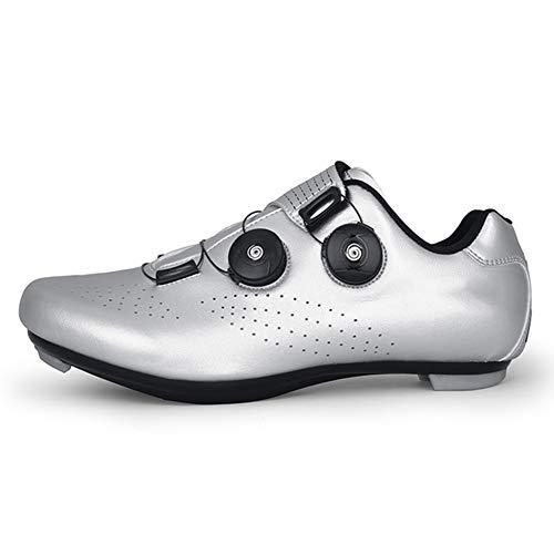 RHSMW Scarpe da Bicicletta, Scarpe da Bicicletta da Atletica Professionale Scarpe da Ciclismo MTB Scarpe da Bici Autobloccanti da Uomo Scarpe da Bici da Strada da Donna,Argento,37