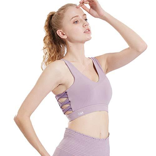 Sujetador deportivo sexy para mujer, de impacto medio, brasier acolchado para yoga, correr, correr, ejercicio, fitness, bloqueo, gimnasio, camiseta sin mangas