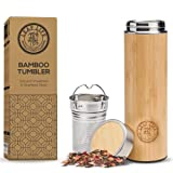LeafLife Premium Bamboo Thermos with Tea Infuser & Strainer- 17oz capacity- Keeps Hot & Cold for 12 Hrs- Vacuum Insulated Stainless Steel Travel Tea Tumbler-Infuser Bottle for Loose Leaf Tea & Coffee