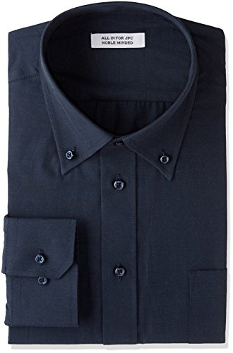 [アトリエサンロクゴ] ワイシャツ 長袖 形態安定 ビジネス カジュアル 制服 ユニフォーム メンズ y9-7-9-1 ネイビー-ボタンダウン 日本4L(日本サイズ4L相当)