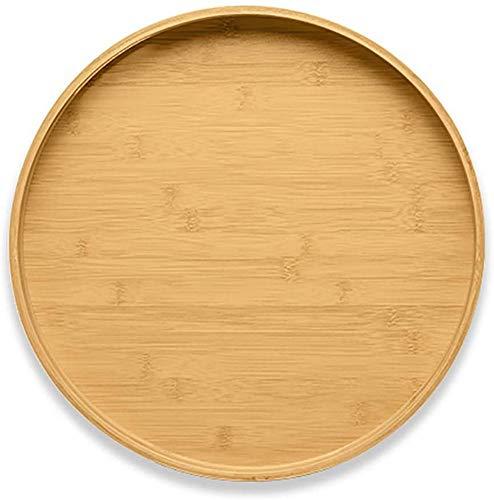 ZGYZ Bandeja de Servicio Redonda de bambú,con Asas Bandeja de Servicio de Madera,Platos de Servicio,Bandeja de Servicio para Cena Grande,Circular,35 x 35 x 4,8 cm