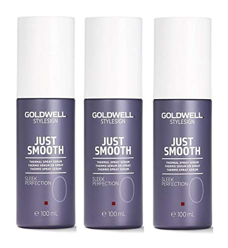 Goldwell StyleSign Just Smooth Sleek Perfection 3er Pack (3x 100ml) Thermo Spray Serum, Hitzeschutzspray