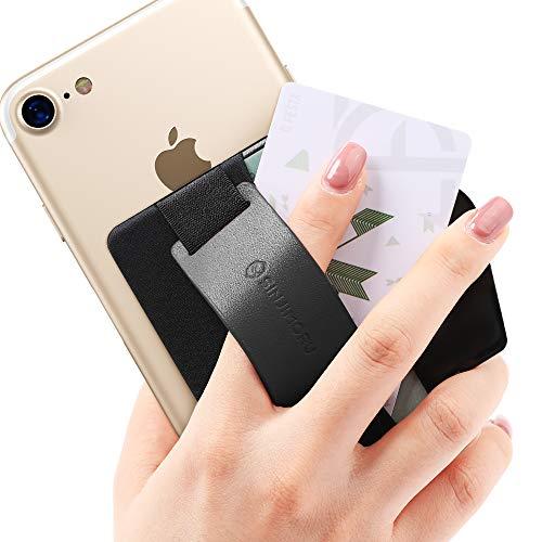 Sinjimoru スマホスタンド カード入れ、落下防止 ハンドストラップ どこでも楽に動画 視聴できるレザースタンド、クレジットカード SUICAカードが収納できる 手帳型 カードホルダー。シンジポーチB-GRIP ブラック。