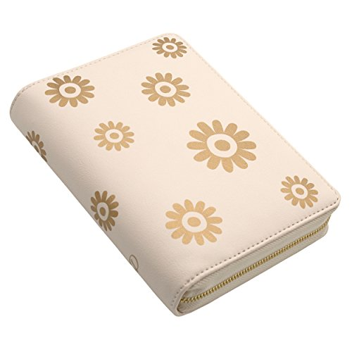 Discagenda Blossoms Ringbound Planner Organizer Zipped Closure (Gold, Personal)