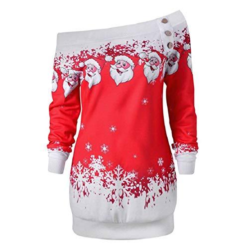 VECDY Blusas Fuera Hombro Estampado Papá Noel Camisetas