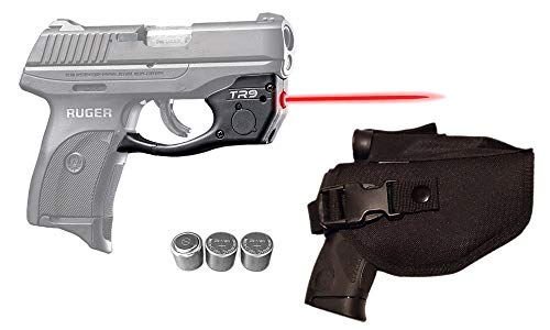 Laser Kit for Ruger LC9, LC9s, LC380, EC9s w/ Tactical Holster, Touch-Activated ArmaLaser TR9 Red Laser Sight & 2 Extra Batteries