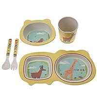 食器セット、環境にやさしいキッズプレートとボウルセットの漫画の幼児用品、子供のための赤ちゃん子供のための幼児(giraffe)